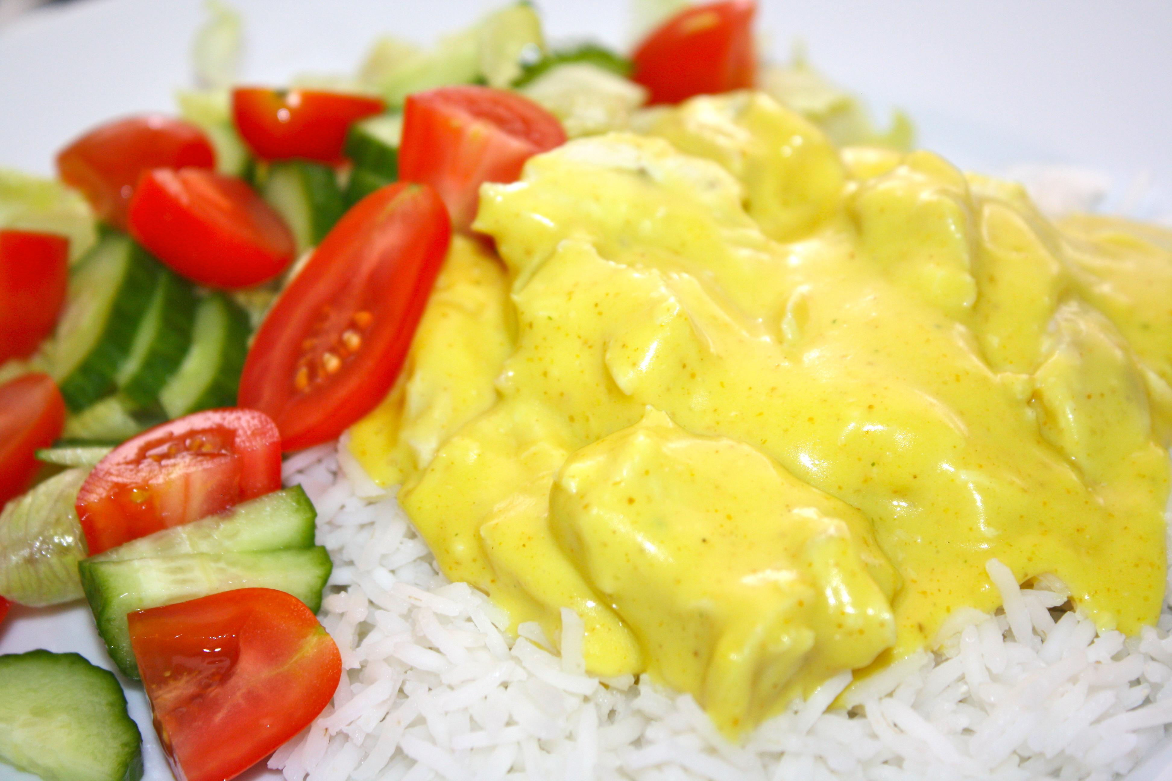ris kyckling currysås