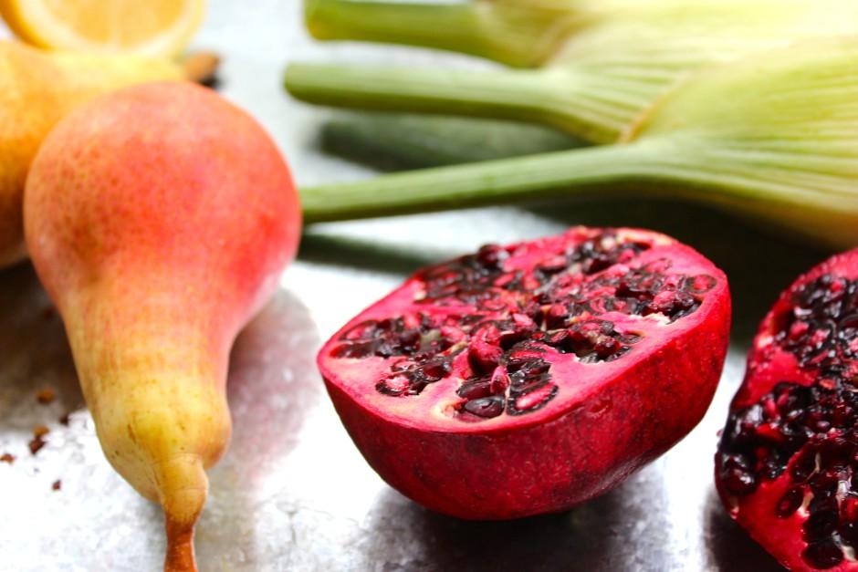 päron och fänkålssallad med granatäpple