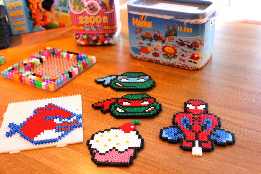 pärlplattor spindelmannen, turtles, cupcake