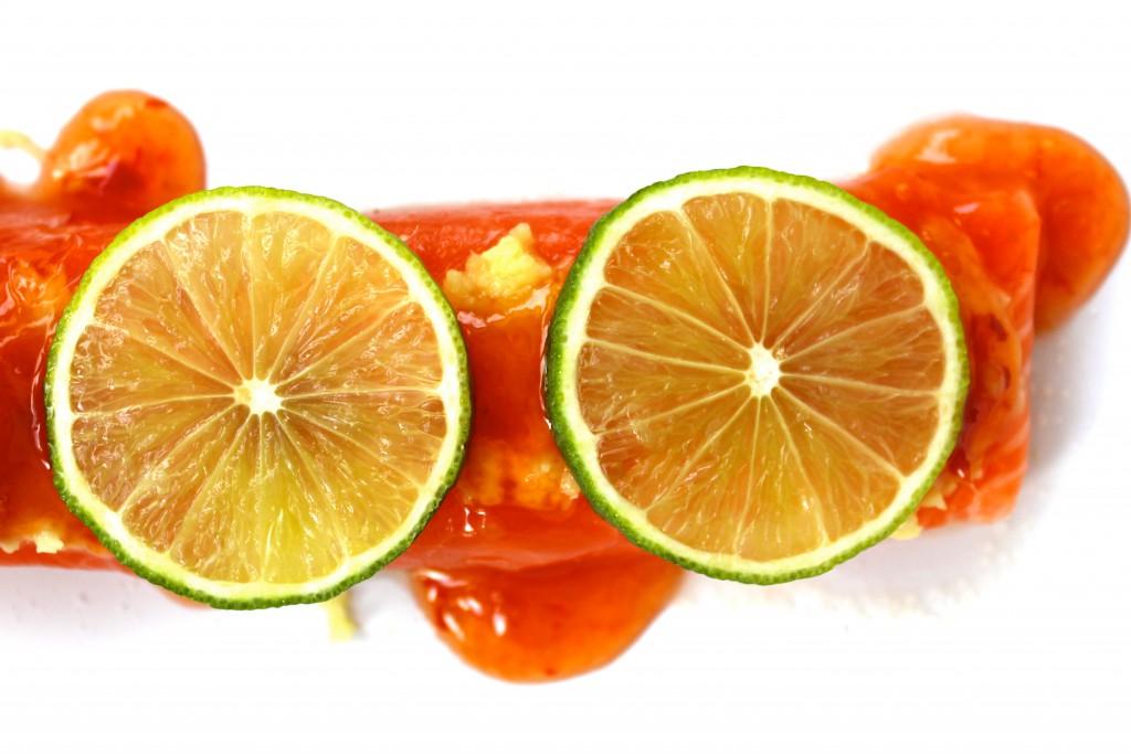 lax med sweetchilisås ingefära och lime