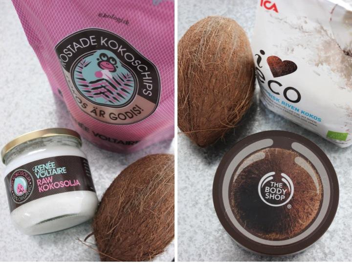 kokosolja, kokosnöt, kokoschips, bodybutter kokos