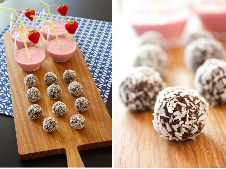 smoothie och nyttiga chokladbollar