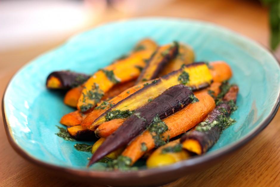 ugnsrostade morötter med örtolja