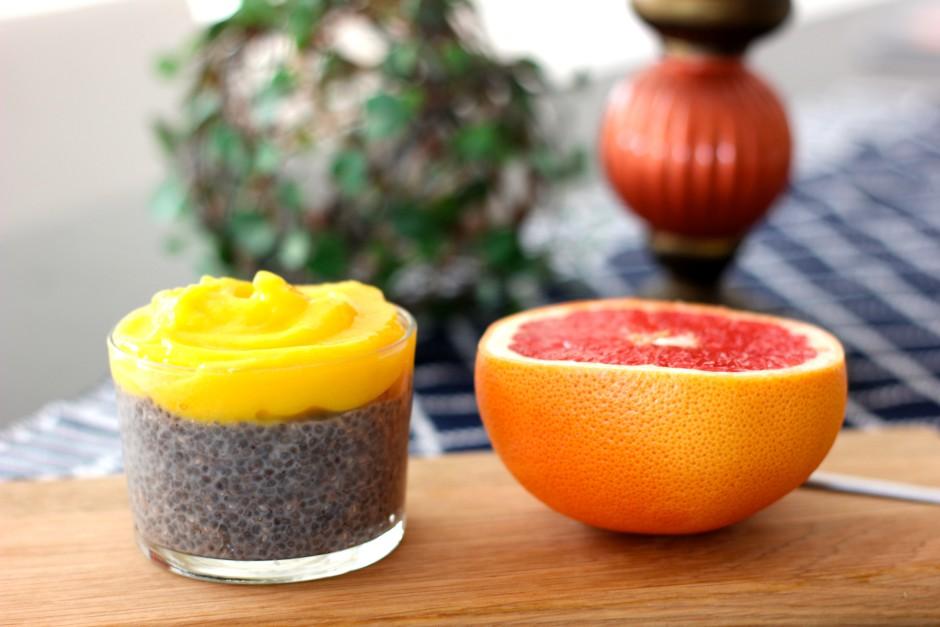 chiapudding med mangosorbet