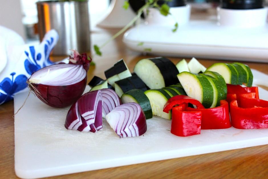 rostade medelhavsgrönsaker med matvete