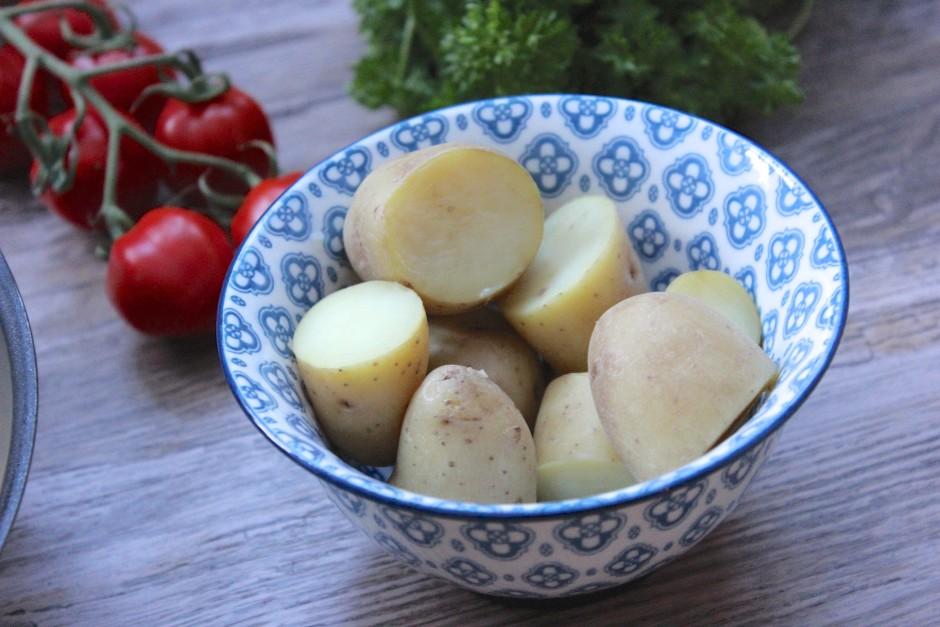 kokt potatis med torsk